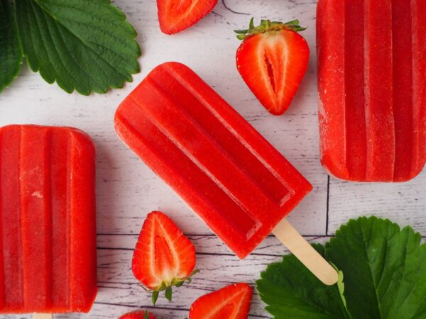 Popsicles and strawberries