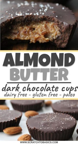 Almond butter made with dark chocolate cups that are dairy free, gluten free, and Paleo.
