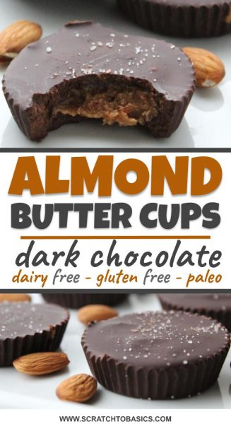 almond butter cups with dark chocolate, dairy free, gluten free, paleo