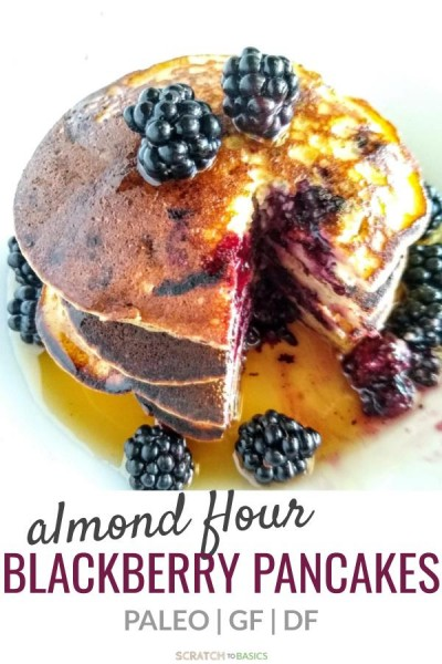 Summer berry Paleo pancakes made with almond flour.