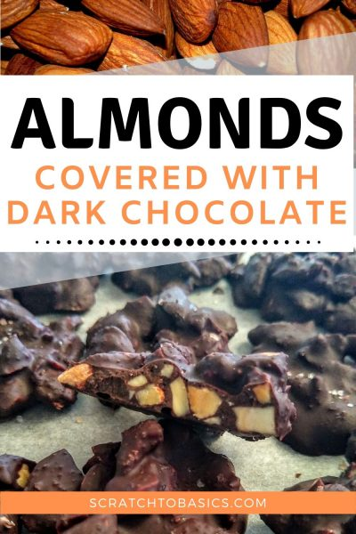 Almonds covered with dark chocolate