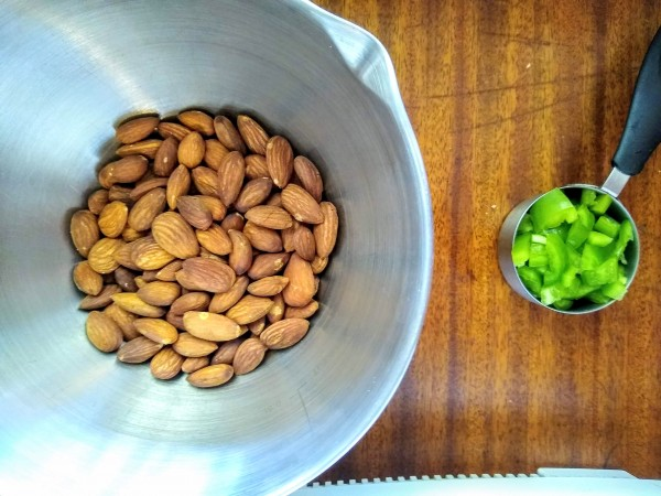 Roasted almonds and jalepenos ready.