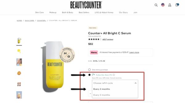 Beautycounter auto-replenishment program to save 5%-10%