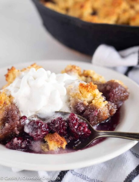 Berry cobbler in a dish