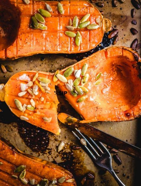 Butternut squash with brown sugar and pumpkin seeds by Sip And Feast