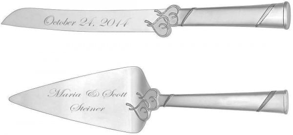 personalized cake knife and server