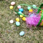 Easter basket spilled eggs