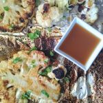 cauliflower grilled steak with sesame ginger sauce