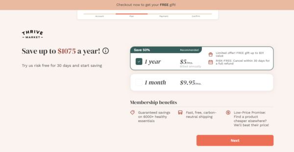 Thrive Market checkout & pricing options