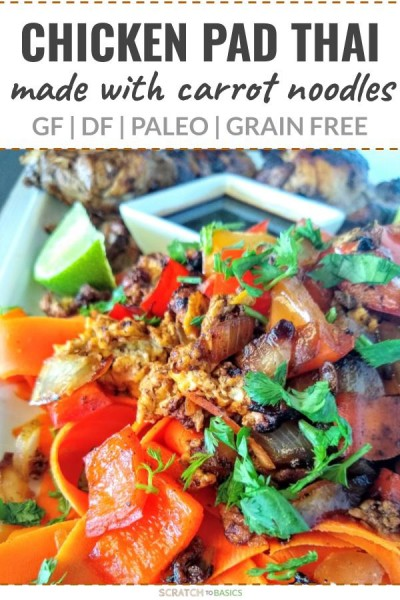 chicken pad thai made with carrot noodles - gf-df-paleo-grain free