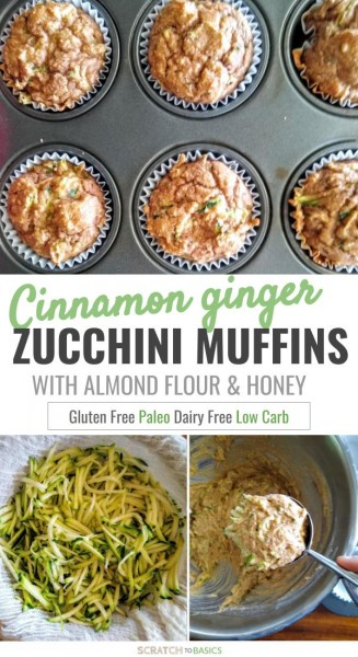 Cinnamon ginger zucchini muffins with almond flour and honey