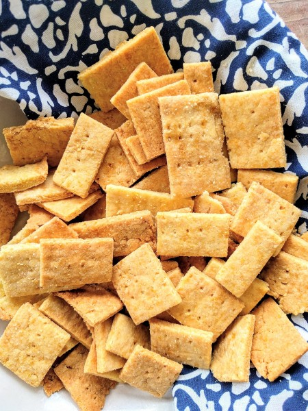 Close up of homemade cheese crackers.