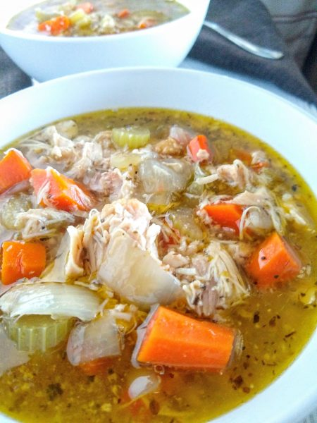 Close up view homemade chicken vegetable soup