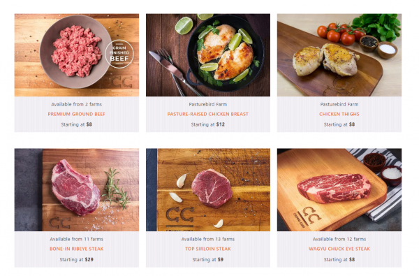 You'll get a wide variety of choices on the Crowd Cow website - depending on seasonality and availability. All options are ethical, farm fresh meat.