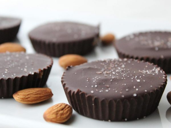 Finished dark chocolate almond butter cups