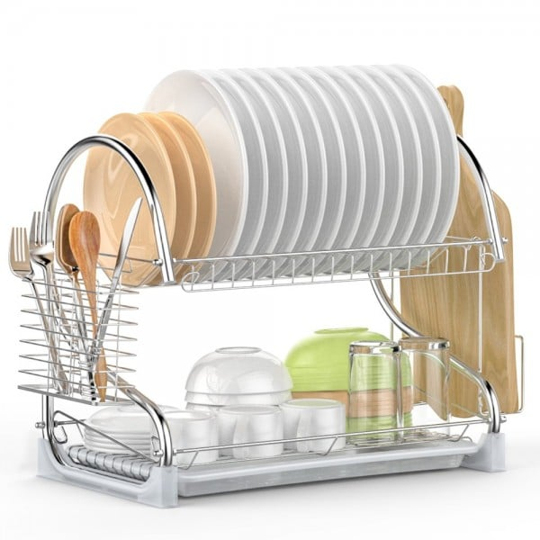 This double level dish rack can help declutter your kitchen.