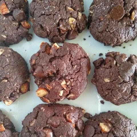 Flourless Double Chocolate And Almond Cookies (GF + DF + Paleo)