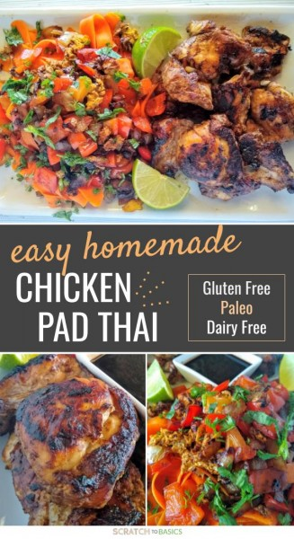 Easy homemade Paleo and gluten free chicken pad thai recipe.