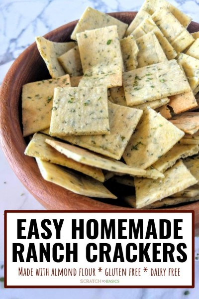 Easy homemade ranch crackers in a wooden bowl - made with almond flour, they're gluten free and dairy free.