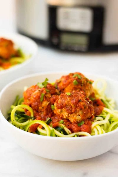 Chicken zucchini meatballs from Eat the Gains
