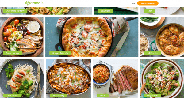Screen shot of meal plan categories on Emeals