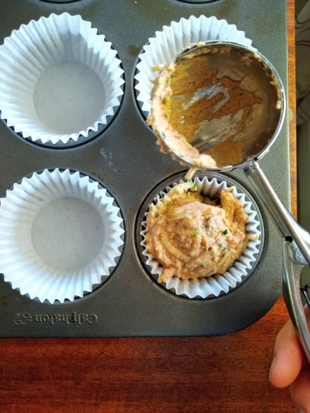 Use this ¼ cup scoop to fill the muffin cups.