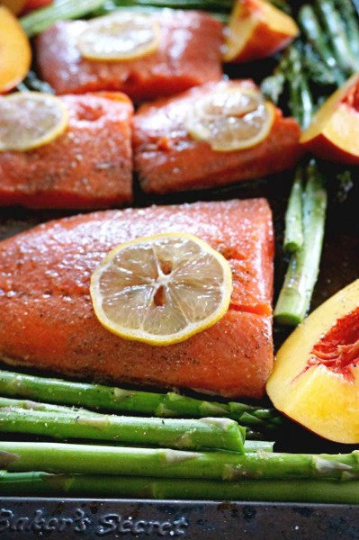 baked salmon with peaches and asparagus sheet pan