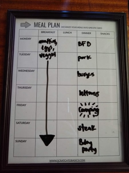 Hang up your meal plan in a frame and use a dry erase marker to fill it in.
