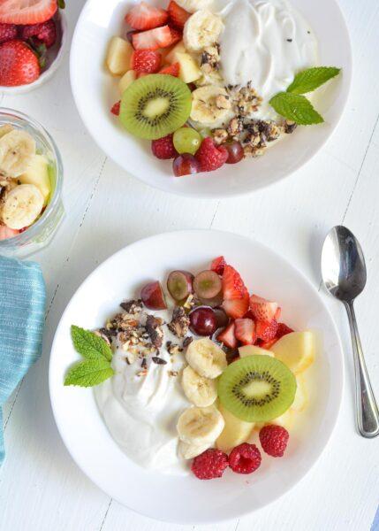 Greek yogurt fruit salad in a bowl