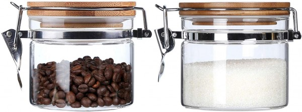 Glass storage containers for countertop storage