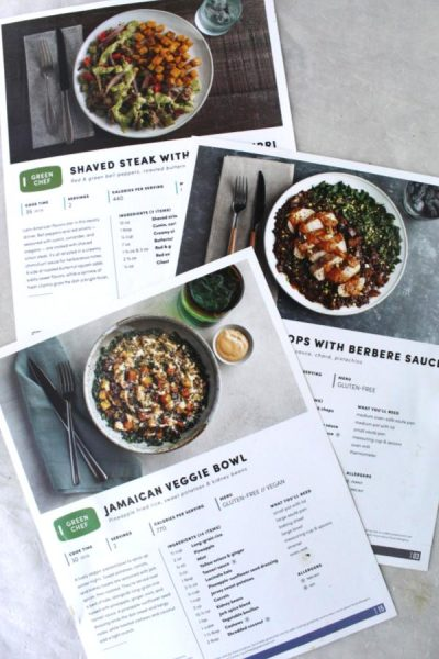 Recipe cards from green chef