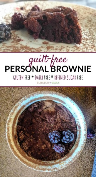 guilt free personal brownie close up and overhead view.