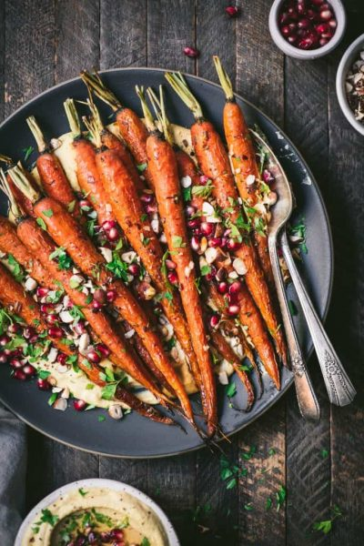 Harissa Carrots with Toasted Hazelnuts and Pomegranate