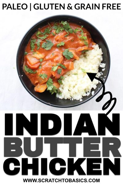 Crockpot butter chicken recipe in bowl.
