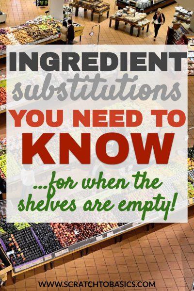 Ingredient substitution list