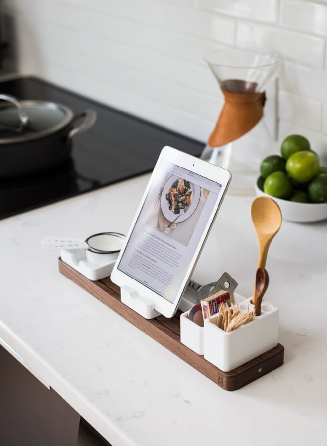 Recipe on tablet on kitchen counter
