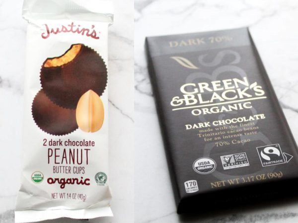 Justin's peanut butter cups and green and black's 70% dark chocolate