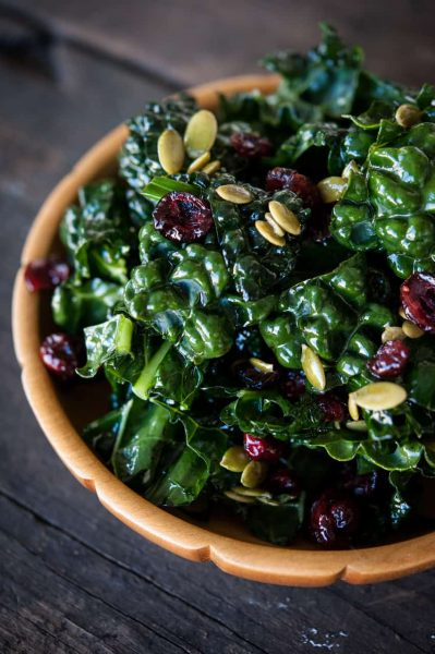 Kale salad with cranberries and pumpkin seeds recipe by GFree foodie