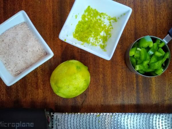 Salt, zested lime, jalepenos ready to go.