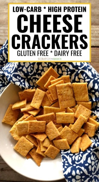 Low carb, high protein cheese craackers that are gluten free and dairy free. Yumm!