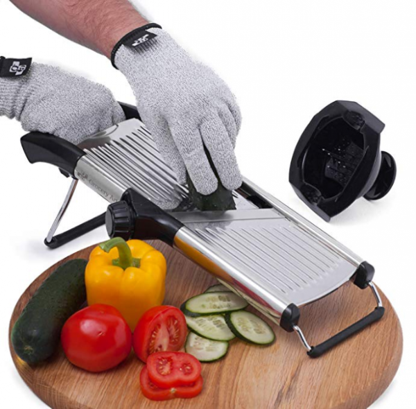 Mandoline slicer in use