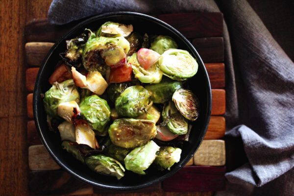 overhead view of maple bacon brussels sprouts