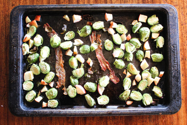 brussels sprouts, apple, and bacon cooked out of oven
