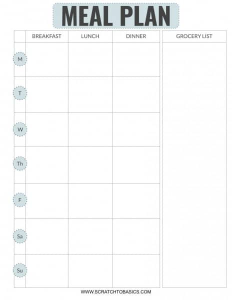 FREE meal planning printable with grocery list in blue.