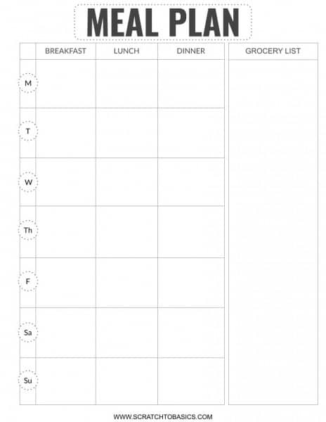 FREE meal planning printable with grocery list.