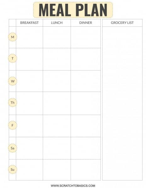 FREE meal planning printable with grocery list in yellow.