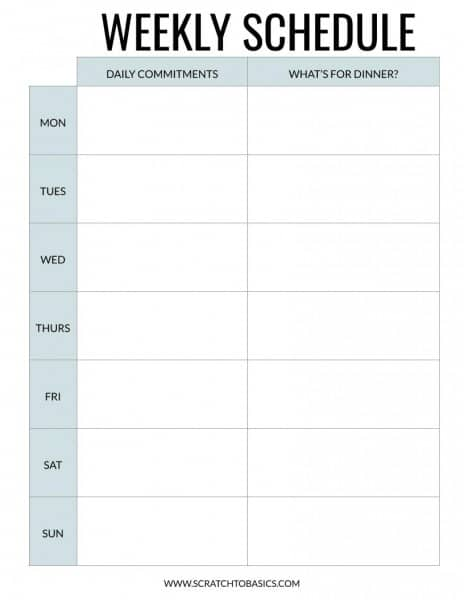 Weekly schedule to keep track of commitments for the day and what's for dinner. In blue. .