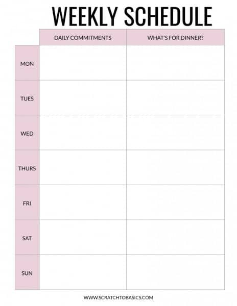 Weekly schedule to keep track of commitments for the day and what's for dinner. In pink.