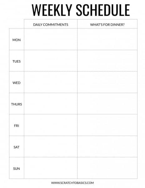 Weekly schedule to keep track of commitments for the day and what's for dinner. Other colors available.