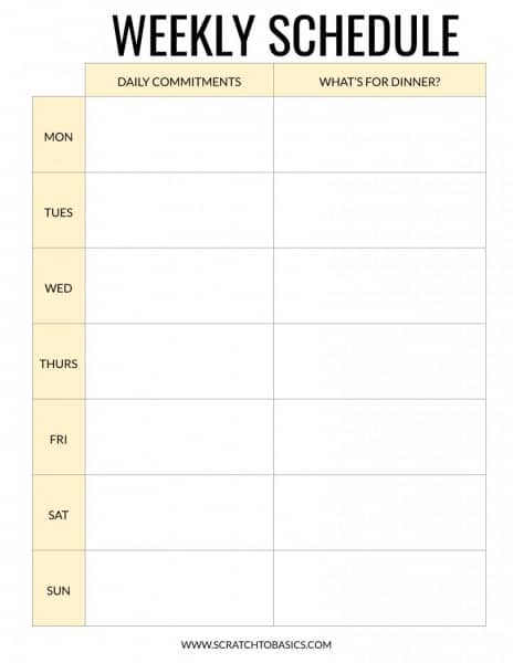 Weekly schedule to keep track of commitments for the day and what's for dinner. In yellow.